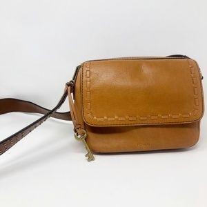 Fossil Tan Studded Boxy Cross Body Bag